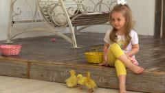 Little girl put in basket yellow ducklings Stock Footage