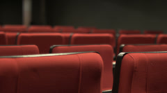 A lot of red chairs in the theater Stock Footage