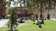 Students of the University of Technology at the campus Stock Footage
