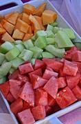 Tray of Melon Chunks Stock Photos