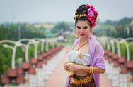 Stock Photo of thai woman in traditional costume of thailand