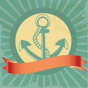 Vintage background with anchor Stock Illustration