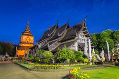 wat lokmolee famous temple of chiang mai, thailand - stock photo