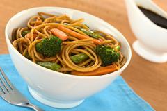 Vegetable pasta stir fry Stock Photos