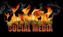 Word Social Media in Flames - stock illustration