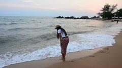 Chaolao Beach and Sea at Chanthaburi Thailand Stock Footage