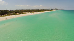 Rising above the beaches of Miami Beach, near North Shore Open Space Park Stock Footage