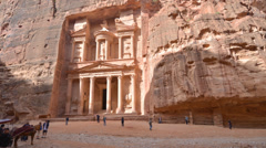 Tourists near the Treasury in Petra, Jordan Stock Footage