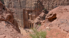 Top view to the Treasury in Petra, Jordan Stock Footage