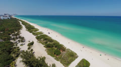 Flying over an uncrowded section of famous Miami Beach, 2.7K Footage Stock Footage