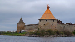 Fortress Oreshek in lake Ladoga on the island, Protection of UNESCO. Stock Footage