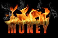 Word Money in Flame Text - stock illustration