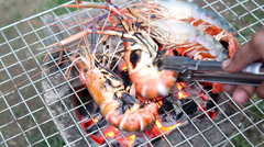 Delicious shrimps on grill with flames in background Stock Footage