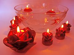 Spa red rose scented aroma candles Stock Photos