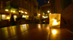 Street cafe. Candle on the table. Stock Footage