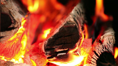 Fireplace full of wood and fire coziness concept Stock Footage