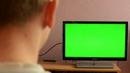 Stock Video Footage of Man watches TV(television) - green screen