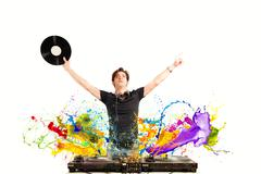 Cool dj playing music Stock Illustration