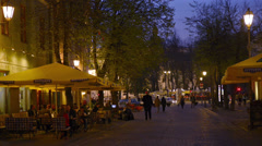 Vilnius, old town street in the evening. Stock Footage
