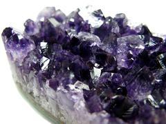 amethyst semigem crystals geode - stock photo