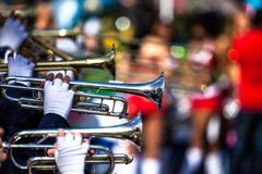 brass band in uniform performing - stock photo