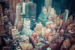 aerial view of manhattan skyline at sunset, new york city - stock photo