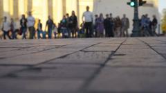 People crossing street. Stock Footage