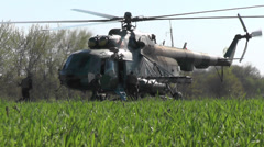 Military helicopter during an anti-terrorist operation and Ukraine. Stock Footage