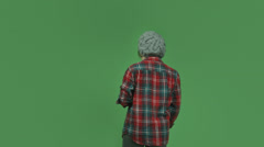 Caucasian casual girl isolated on green screen confused with question mark Stock Footage
