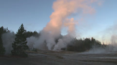Geysers and thermal display in sunrise Stock Footage