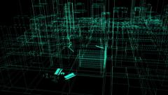 4k architectural blueprint of contemporary buildings wireframe Stock Footage