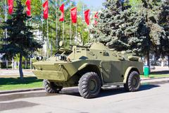 Victory parade of military machine Stock Photos