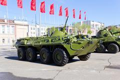 victory parade of military machine - stock photo