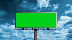 Billboard With Green Screen With Sky Stock Footage