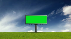Billboard With Green Screen on Grass With Sky Stock Footage