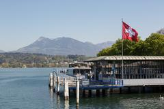 lucerne with swiss flag - stock photo