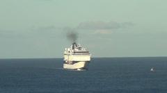 Modern  ocean liner approaching - stock footage