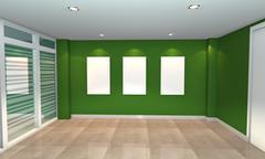 Green interior gallery Stock Illustration