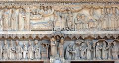 Notre Dame Cathedral, Paris, Portal of St. Anne Stock Photos