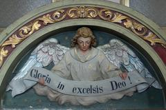 "Heavenly Angel declaring ""Gloria in excelsis Deo!"" - stock photo"