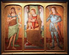 Madonna and Child on a throne with St. John the Baptist and Saint George - stock photo