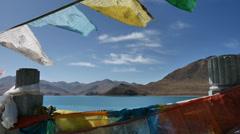 Tibetan Prayer Lake Stock Footage