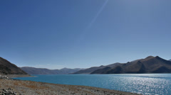 Tibetan Lake - Yamdro Tso Lake Stock Footage