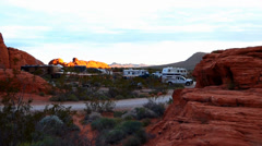 RV's Camping in a Red Rock Desert Stock Footage