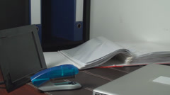 Pan Of An Office Desk Setup, Business, Work, Place - stock footage
