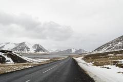 the road to  snaefellsne on the island iceland - stock photo