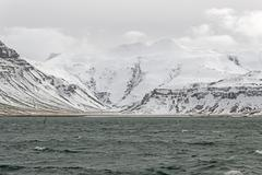 the iceland mountians and lake - stock photo