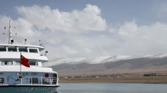 Ferry Boat at Qinghai Lake Stock Footage