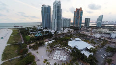 Rising up over South Pointe and South Beach's Condos Stock Footage