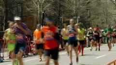 Fast Motion Boston Marathon Stock Footage